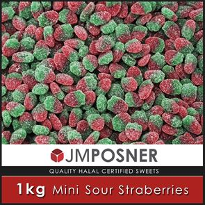 Mini Sour Wild Strawberry Sweets - 1kg Bag